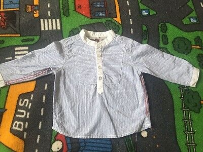 �� NEXT BOYS  9-12 Months 100% Cotton Shirt Striped White And Blue ��