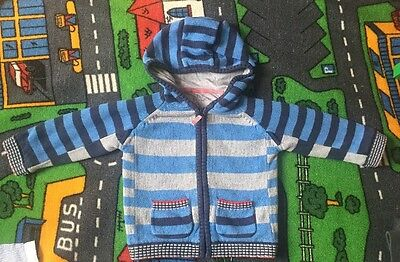 💙Boys Blue Striped Knitted  Hoodie / Zip Up 18-24 Months  Tu💙