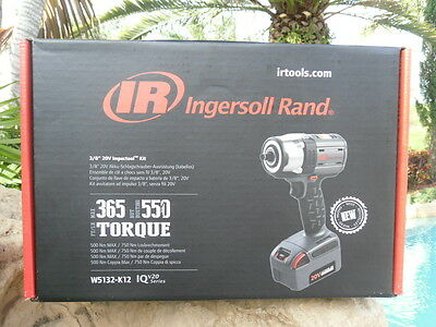 "Ingersoll Rand 3/8"" 20 Volt Impact Wrench One Battery Kit 550 FT/LBS W5132-K12"