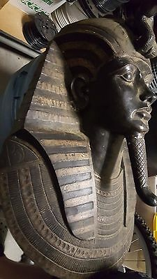 BRONZE STATUE King Tut Death Mask Sarcophagus Egyptian Mummy Tutankhamen Antique