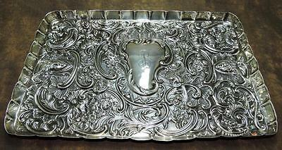 **antique William Comyns 1895 Repousse Florial Sterling Silver Vanity Tray W@w**