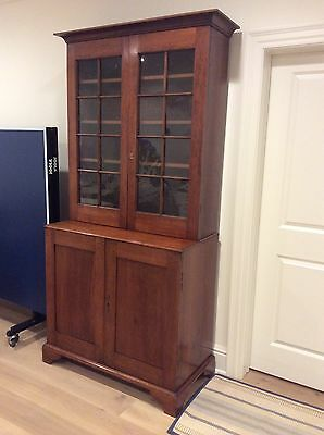 early 1800's American 2 piece Cherry Stepback cupboard with key lock