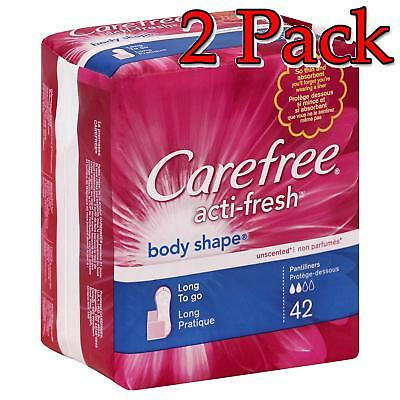 Carefree Acti-Fresh Body Shape, Long Pantiliners, 42ct, 2 Pack 078300069867T295