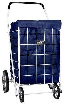 Dark Blue Liner with Hood Folding Cart Utility for Shopping Rolling Trolley