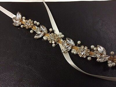 Gold and Ivory Bridal Belt, faux pearls and crystals handmade by Davie and Chiyo