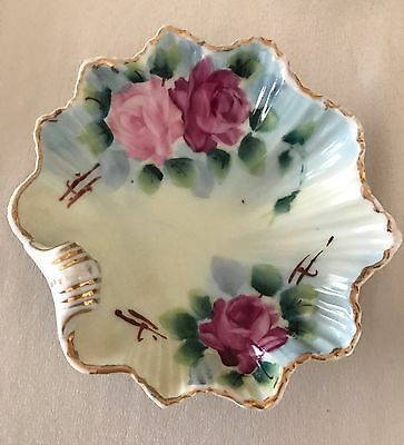 Vintage Hand Painted Porcelain Trinket, Ring, Candy Dish With Roses & Leaves