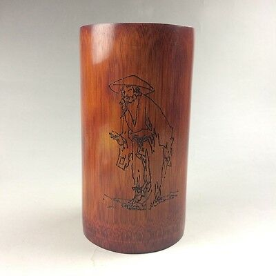 China's manual sculpture old man bamboo pen container