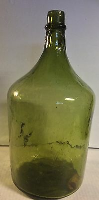 Antique Green Glass Bottle Jug Demijohn Carboy Mouth Blown Mold Gallon With Cork