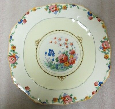 "Art Deco Alfread Meakin 8 Sided 8.5"" Plate Colorful Florals Yellow & Black Trim!"