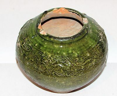 """Antique Chinese Tang Sancai Ware Tomb Burial Pottery Vase 5.5"""" h Relief Design"""