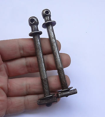 Lot 2 Original Antique French Bed Bolts Screws 4'' Long + nuts Free Shipping