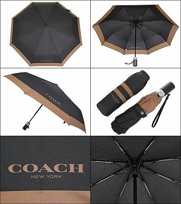 Coach Retractable Mens Umbrella In Nylon Color Black Coach F65206 Nwt