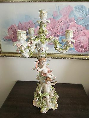 Antique Germany Porcelain Figural Candelabra Candle Holder Cherub Flowers