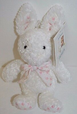 Carters White Bunny Rabbit Plush Rattle Pink Flower Ears Bow Just One Year NEW