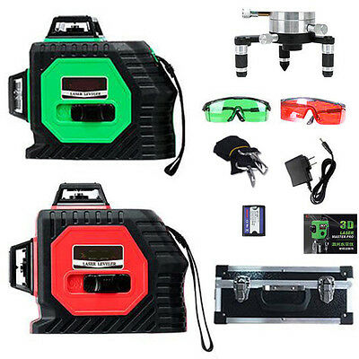 360° 12 Line 3D Laser Self Leveling Vertical & Horizontal Level Cross Red/Green