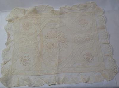"Antique Vintage Small Net Lace Boudior Pillow Cover Case  15 1/2"" x 12 1/2"" - #4"