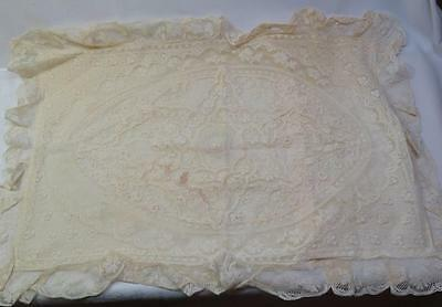 "Antique Vintage Mixed Net Lace Boudior Pillow Cover Case  21.5"" x 15"" - #2"