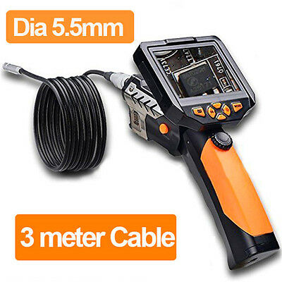 "3.5"" Video Inspection Tube Snake Camera 5.5mm Borescope Endoscope Scope 3M Cable"