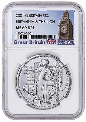 2001 Great Britain - Silver £2 - Britannia - MS 69 DPL NGC Coin POP 5 ULTRA RARE