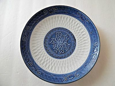 Vintage Blue And White Plate Scroll Edging and Flower Center, Japan