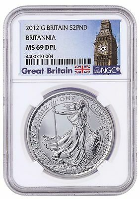 2012 Great Britain Silver £2 Britannia MS 69 DPL NGC Coin POP 11 ULTRA RARE