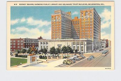 Vintage Postcard Delaware Wilmington Rodney Square Public Library And Trust Buil