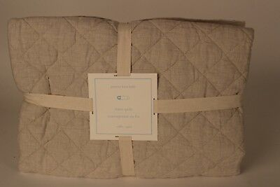 NWT Pottery Barn Kids Belgian Linen Diamond toddler quilt flax khaki natural