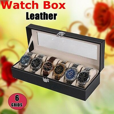 6 Grids Watch Jewelry Storatge Holder Box Wrist Watches Display Case Gift Box AU