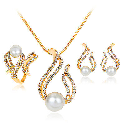 Fashion 18K Gold Plated Pearl Crystal Ring Necklace Earrings Wedding Jewelry Set