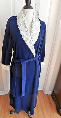 True Vintage Navy Blue Velour W/lace Vanity Fair Women's Long Robe In Size Small
