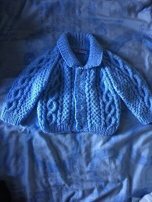 Baby Boy Knitted Cardigan Blue 12-18 Months.