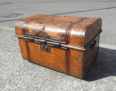 Small Vintage Metal Trunk / Travel Chest  Cleaned & Polished    Free Uk Postage
