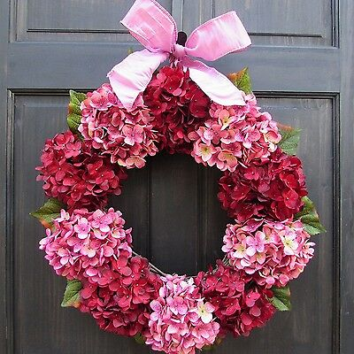 Valentines Day Wreath with Red and Pink Artificial Hydrangeas, Small - Extra Lar