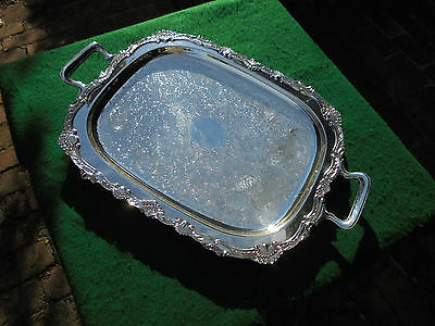 Huge Antique Australian Silver Plate Footed Serving Tray