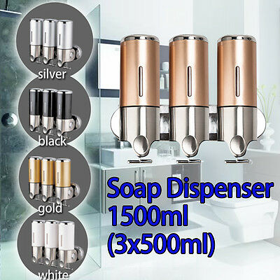 1500ML 3 HEAD WALL MOUNT SOAP DISPENSER Shampoo/Hand Wash For Bathroom/Shower