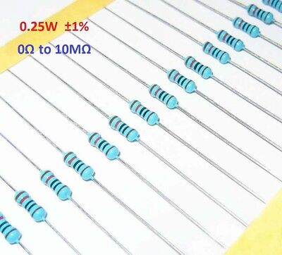 100PCS 1/4W Metal Film Resistor 0.25W 1%- Full Range of Values 0Ω to 10MΩ