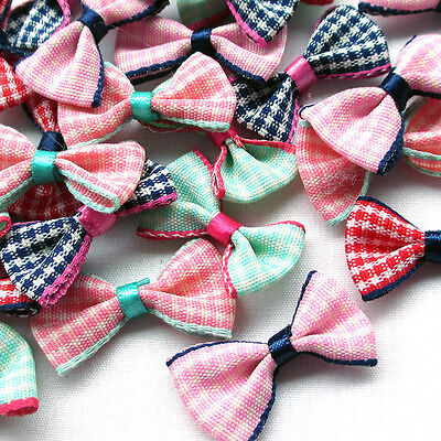 20 Mix Small Gingham Ribbon Flowers Bows Sewing Craft Appliques #521