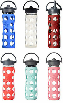 Lifefactory Glass Water Bottle w/Straw Cap & Silicone Sleeve, 3 Sizes, 13 Colors