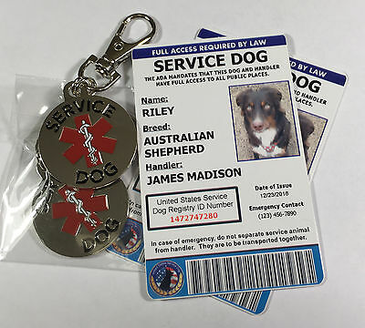 Service Dog ID with Copy and Service Dog Tags - Includes Registration
