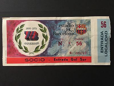1974 Manchester City - FC Barcelona.75th anniversary FC Barcelona. Ticket.