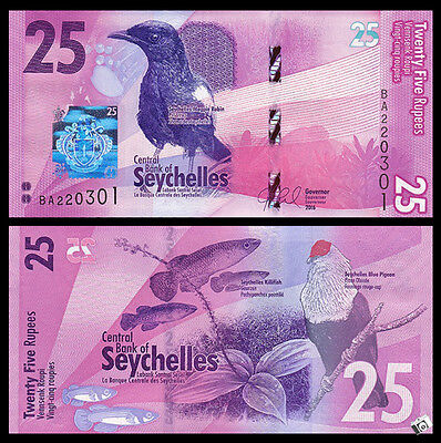Seychelles 25 Rupees, 2016, P-NEW, NEW DESIGN, Bird, UNC