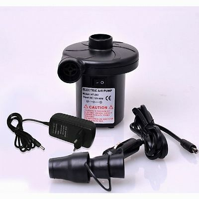 New 2 In1 12V/240V Electric Air Inflator Camping Airbed Pump Pool Deflator Mains