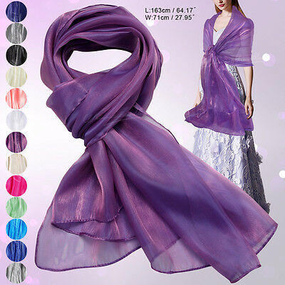 UK Women Silky Iridescent Wedding Party Neck Scarf Scarves Wrap Soft Stole Shawl