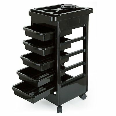 Hairdresser Barber Spa Beauty Storage Hair Trolley 5 Drawers Colouring Spa Cart