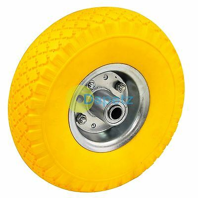 """10"""" Yellow Puncture Burst Proof Solid Rubber Sack Truck Trolley Wheel & Axle"""