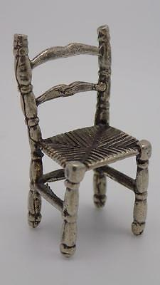 Vintage Solid Silver Straw Chair Miniature - Handworked - Dollhouse - Stamped*