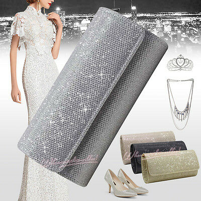 New Ladies Women Party Prom Wedding Bridal Clutch Bag Purse Handbag Shoulder Bag