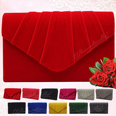 New Envelope Evening Wedding Faux Suede Leather Clutch Shoulder Bag Clutch Purse