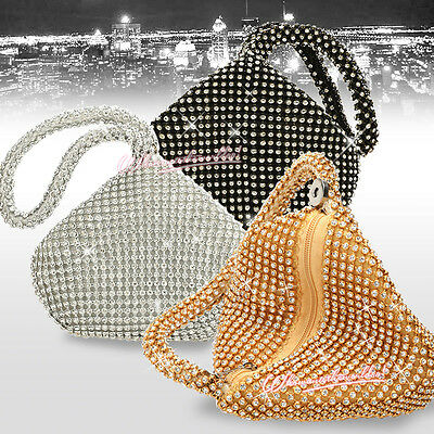 New Women Diamante Encrusted Wedding Evening Clutch Handbag Purse Party Prom Bag