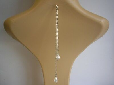 Double Crystal Drop Clip on Back Chain Backdrop Attachment for a necklace V30D